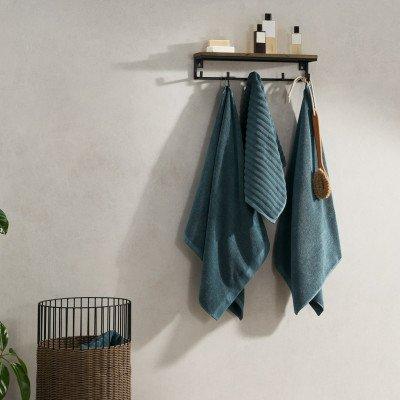 MADE.COM Alto set van 4 handdoeken, azuurblauw