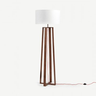 MADE.COM Asher staande lamp, donkergebeitst eikenhout