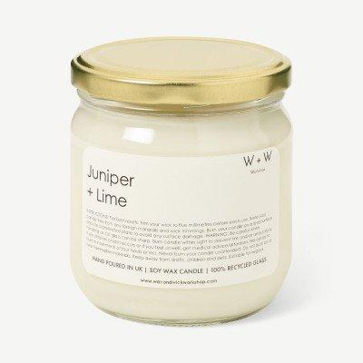 MADE.COM Juniper & Lime Wax + Wick jeneverbes en limoen kaars