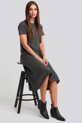 Trendyol Short Sleeve Knitted Midi Dress - Grey