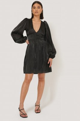 NA-KD Boho V-shape Structured Satin Dress - Black