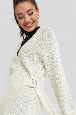 NA-KD NA-KD Buckle Detail Knitted Cardigan - White
