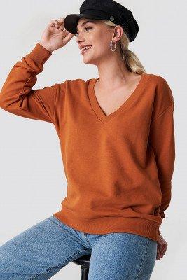 NA-KD Basic NA-KD Basic V-neck Basic Sweater - Orange