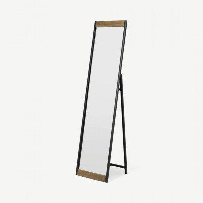 MADE.COM Maxine staande spiegel, 160 x 40 cm, mangohout en zwart