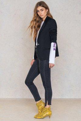 NA-KD NA-KD Highwaist Long Side Slit Jeans - Grey