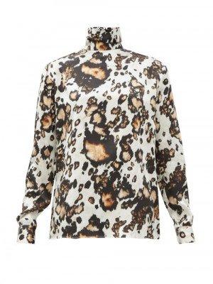 Matchesfashion Edward Crutchley - Animal-print Roll-neck Silk Blouse - Womens - Leopard