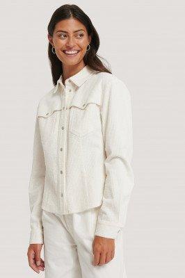 NA-KD Trend Corduroy Blouse - White