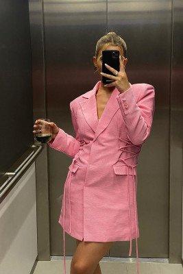 Hanna Schönberg x NA-KD Hanna Schönberg x NA-KD Blazerjurk Met Veterdetails - Pink