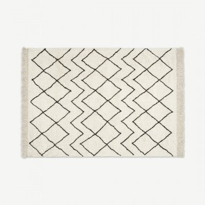 MADE.COM Masali vloerkleed in Berber stijl, extra groot, 200 x 300cm, roomwit
