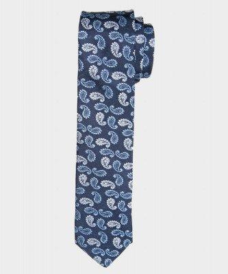 Michaelis Michaelis heren paisley smalle zijden stropdas blauw