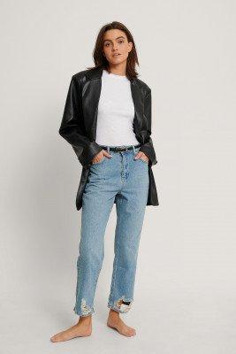 NA-KD Reborn NA-KD Reborn Organisch Gescheurde Rechte Jeans - Blue