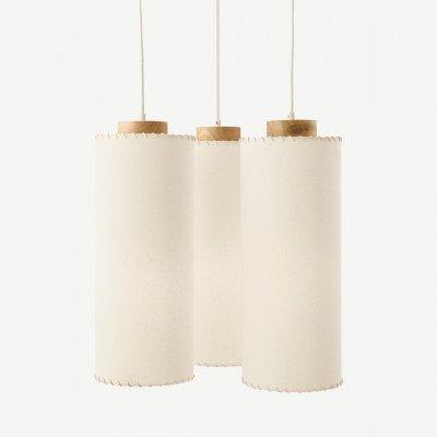 MADE.COM Neutra kroonluchter, natuurlijk gebeitst hout en textuurgeweven stof