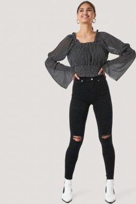 NA-KD NA-KD Skinny High Waist Destroyed Jeans - Black
