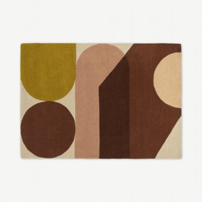 MADE.COM Zayyan handgetufte wollen vloerkleed met geometrisch design, groot, 160 x 230 cm, terracotta