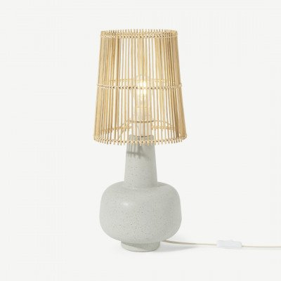MADE.COM Pria tafellamp, reactief wit en lichtbeige