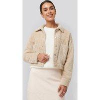 NA-KD Trend Hairy Faux Fur Jacket - Beige