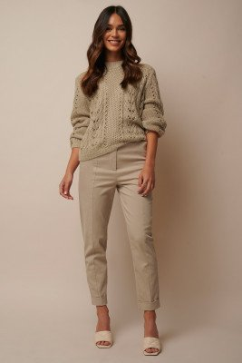 Donnaromina x NA-KD Straight Folded Suit Pants - Beige