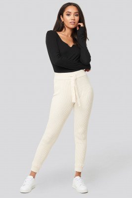 XLE the Label XLE the Label Ty Rib Knitted Pants - White