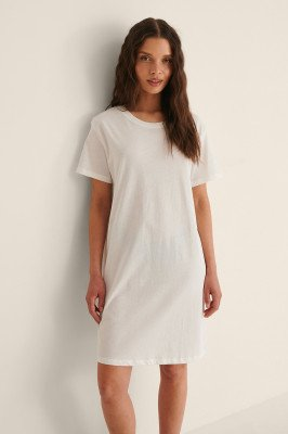 NA-KD Basic NA-KD Basic Organisch T-shirtjurk - Offwhite