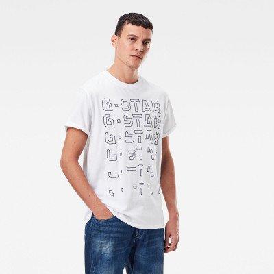G-Star RAW Embro Gradient Graphic Lash T-Shirt - Wit - Heren