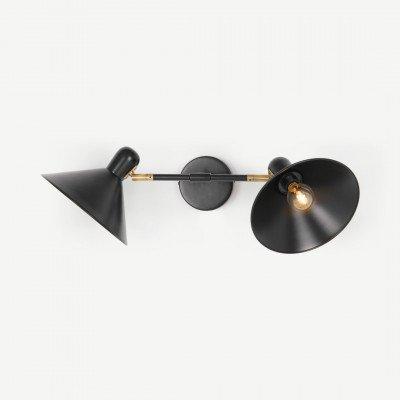 MADE.COM Ogilvy dubbele wandlamp, matzwart en antiek messing