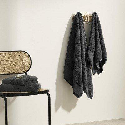 MADE.COM Narinda set van 4 handdoeken, katoen en linnenmix, grafiet
