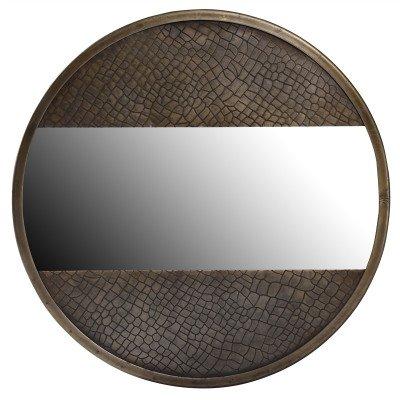 Firawonen.nl PTMD Laria Gold aluminium spiegel slangenprint rond