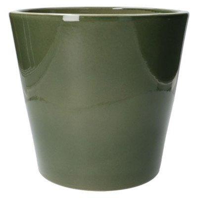 DilleenKamille Bloempot, aardewerk, donkergroen,Ø 24 cm