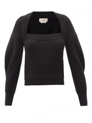 Matchesfashion Alexander Mcqueen - Square-neck Ribbed Cotton Sweater - Womens - Black