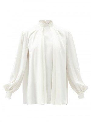 Matchesfashion Alexander Mcqueen - High-neck Pleated Silk-satin Blouse - Womens - Ivory