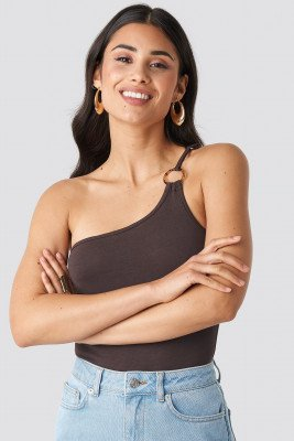 NA-KD Trend NA-KD Trend One Shoulder Ring Body - Brown