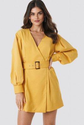 NA-KD Classic NA-KD Classic Balloon Sleeve Belted Blazer Dress - Yellow