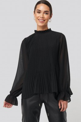 NA-KD High Neck Pleated Blouse - Black