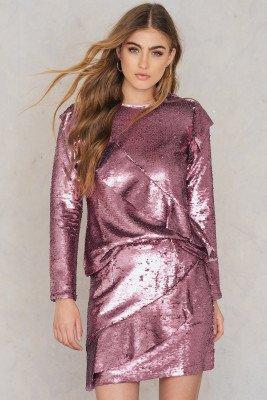 Glamorous Frill Sequin Skirt - Pink