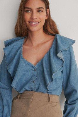 NA-KD NA-KD Denimshirt Met Volant - Blue