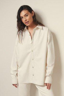 Josefine HJ x NA-KD Josefine HJ x NA-KD Oversized Denim ShirtOrganisch Denim Shirt - Offwhite