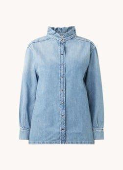 BAenSH ba&sh Shine blouse van denim met ruches
