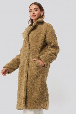 NA-KD NA-KD Big Collar Teddy Coat - Brown