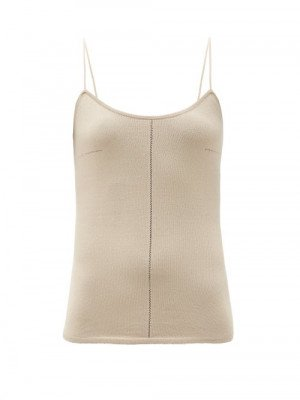 Matchesfashion Lemaire - Fine-strap Knitted Cami Top - Womens - Beige