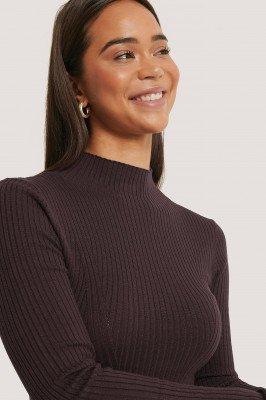 NA-KD Trend Ribbed Polo Neck Sweater - Purple