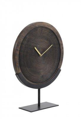 Light en Living Light & Living Klok 'Kamudi' op voet, hout bruin-mat zwart