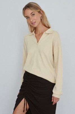 NA-KD Trend Gebreid Sweatshirt - Beige