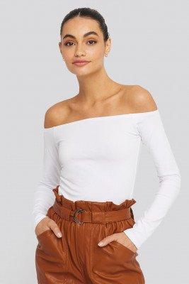 NA-KD Basic NA-KD Basic Long Sleeve Off Shoulder Top - White
