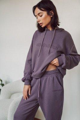 NA-KD Reborn NA-KD Reborn Organisch Oversized Hoodie Met Geborduurd Detail - Purple