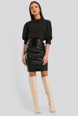 NA-KD Trend NA-KD Trend Embossed Croco Pu Skirt - Black
