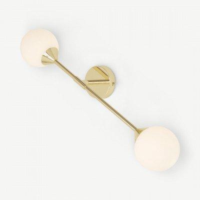 MADE.COM Faye brede wandlamp, messing