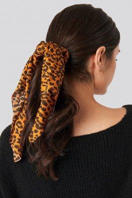 NA-KD Accessories Leopard Bow Scrunchie - Brown
