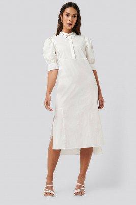 NA-KD Trend Puff Sleeve Panel Dress - White