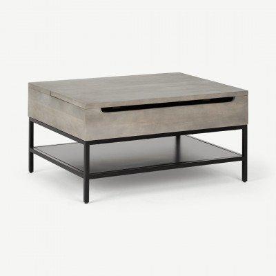 MADE.COM Lomond salontafel met uitklapbare bovenkant, grijs washed mangohout