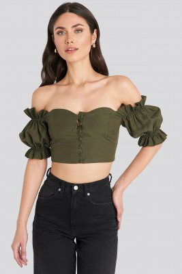 Trendyol Off-Shoulder Korte Top Met Knopendetails - Green